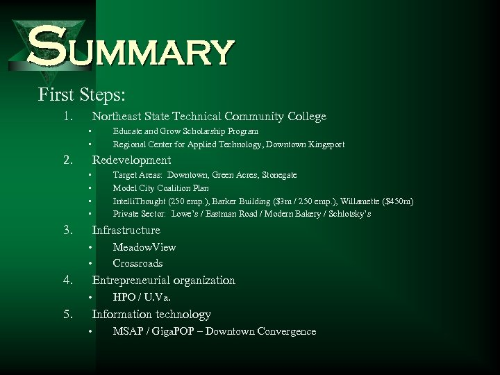 Summary First Steps: 1. Northeast State Technical Community College • • 2. Educate and