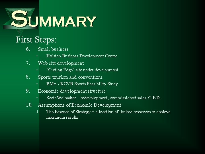 Summary First Steps: 6. Small business • 7. Holston Business Development Center Web site
