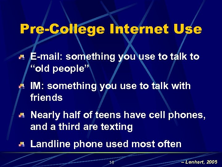"Pre-College Internet Use E-mail: something you use to talk to ""old people"" IM: something"