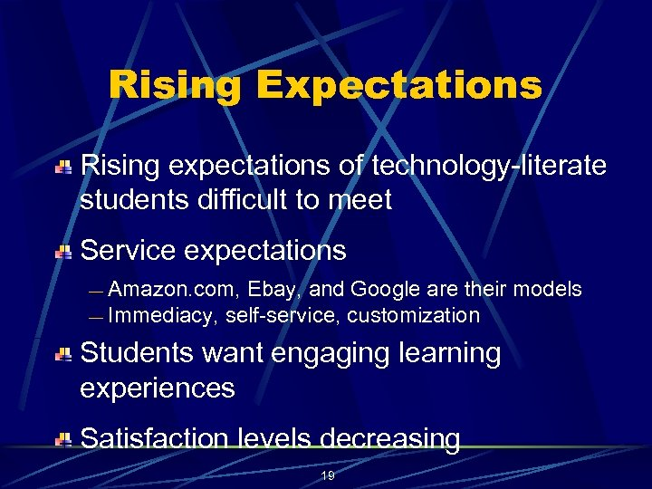 Rising Expectations Rising expectations of technology-literate students difficult to meet Service expectations Amazon. com,