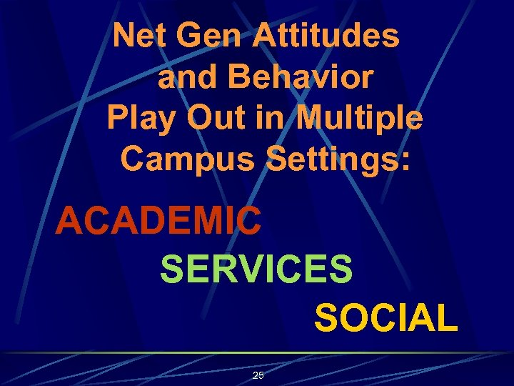 Net Gen Attitudes and Behavior Play Out in Multiple Campus Settings: ACADEMIC SERVICES SOCIAL