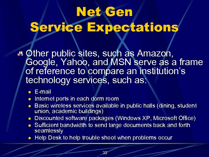 Net Gen Service Expectations Other public sites, such as Amazon, Google, Yahoo, and MSN