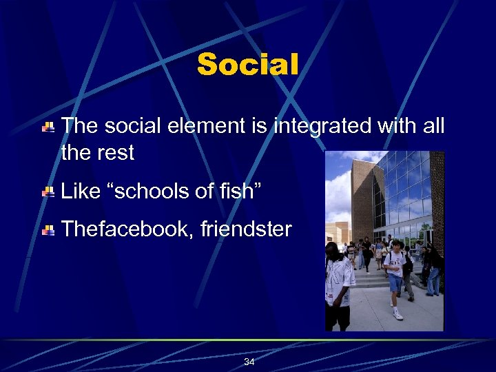 "Social The social element is integrated with all the rest Like ""schools of fish"""