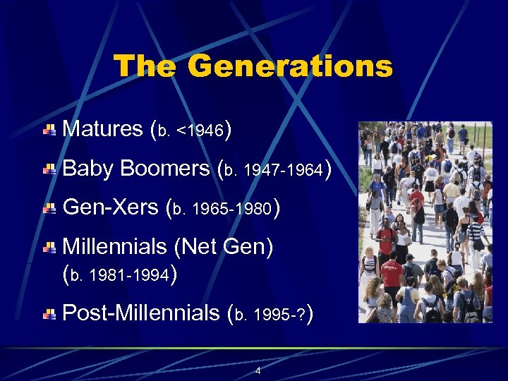 The Generations Matures (b. <1946) Baby Boomers (b. 1947 -1964) Gen-Xers (b. 1965 -1980)