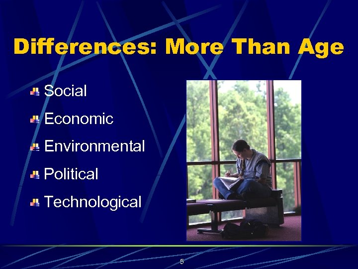 Differences: More Than Age Social Economic Environmental Political Technological 5