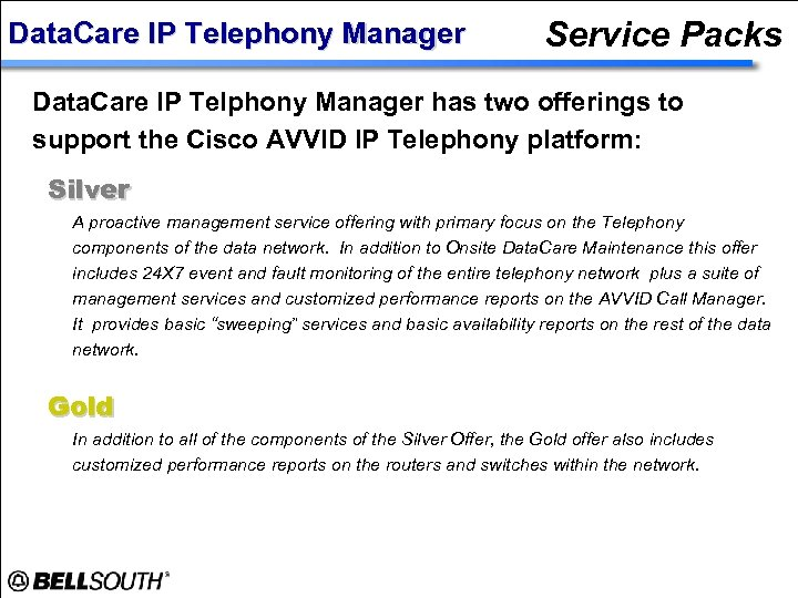 Data. Care IP Telephony Manager Service Packs Data. Care IP Telphony Manager has two
