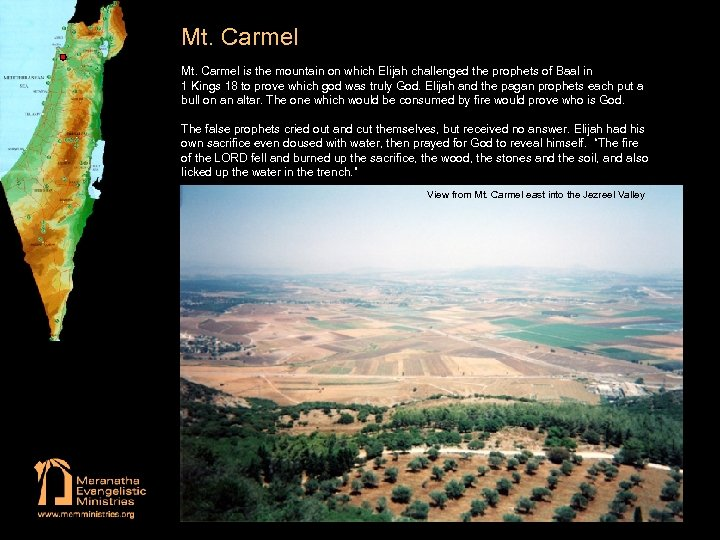 Mt. Carmel is the mountain on which Elijah challenged the prophets of Baal in