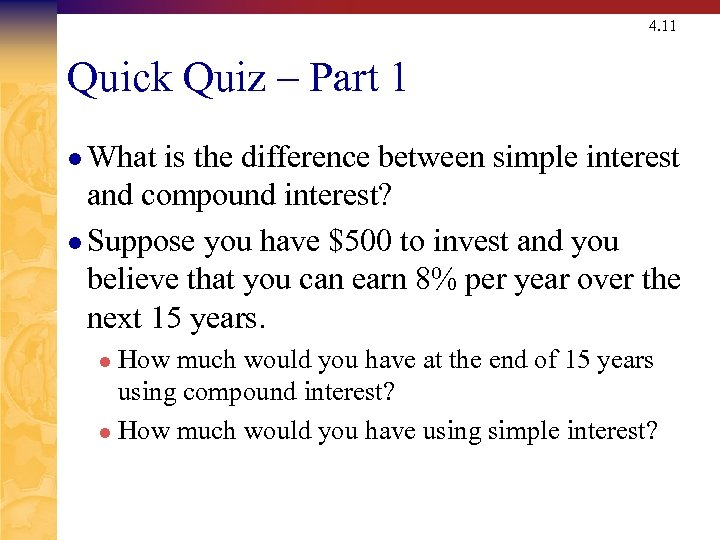 4. 11 Quick Quiz – Part 1 l What is the difference between simple
