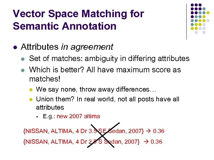 Vector Space Matching for Semantic Annotation l Attributes in agreement l l Set of