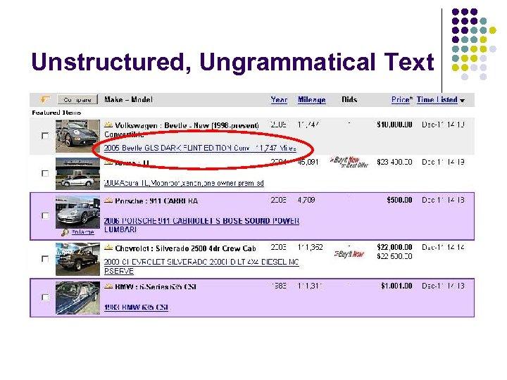 Unstructured, Ungrammatical Text