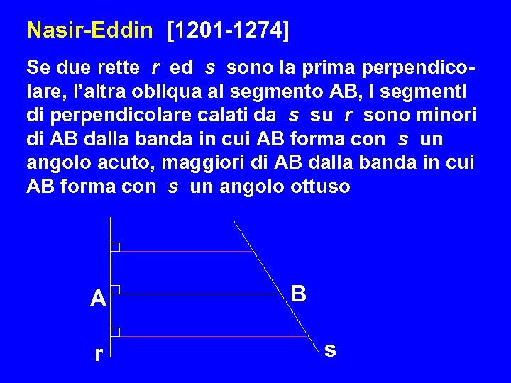 Nasir-Eddin [1201 -1274] Se due rette r ed s sono la prima perpendico- lare,
