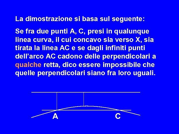 La dimostrazione si basa sul seguente: Se fra due punti A, C, presi in
