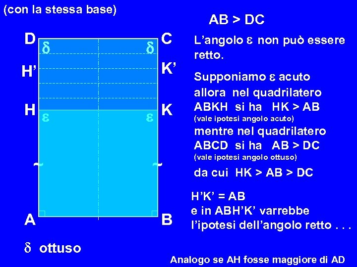(con la stessa base) D H' H ~ A ottuso C K' K AB