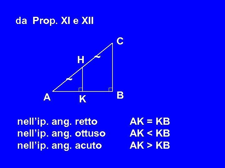 da Prop. XI e XII C H ~ ~ A K nell'ip. ang. retto