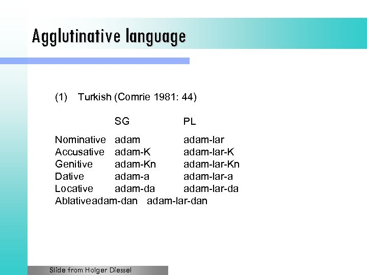 Agglutinative language (1) Turkish (Comrie 1981: 44) SG PL Nominative adam-lar Accusative adam-K adam-lar-K