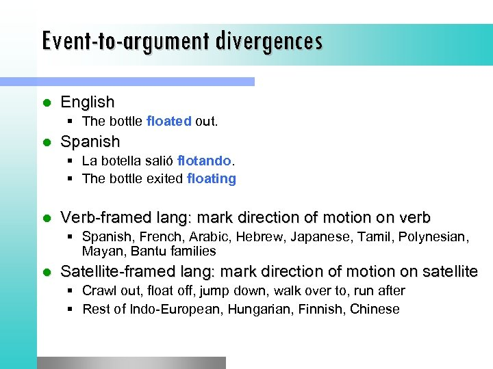 Event-to-argument divergences l English § The bottle floated out. l Spanish § La botella