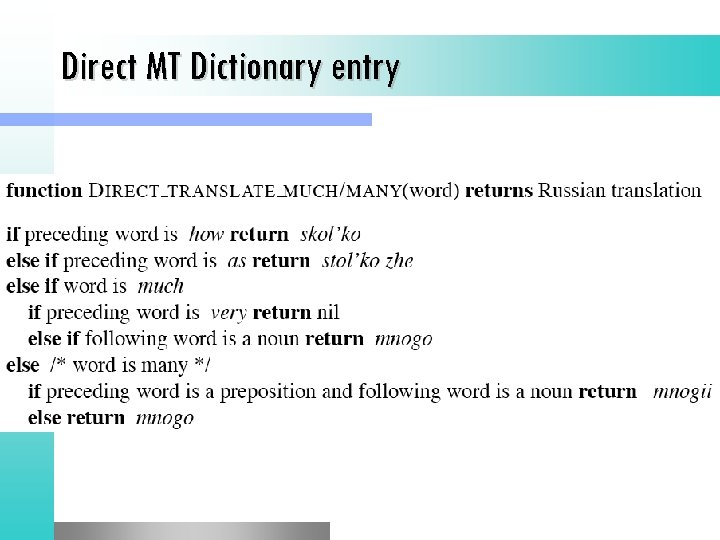 Direct MT Dictionary entry