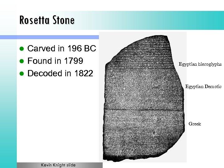 Rosetta Stone Carved in 196 BC l Found in 1799 l Decoded in 1822