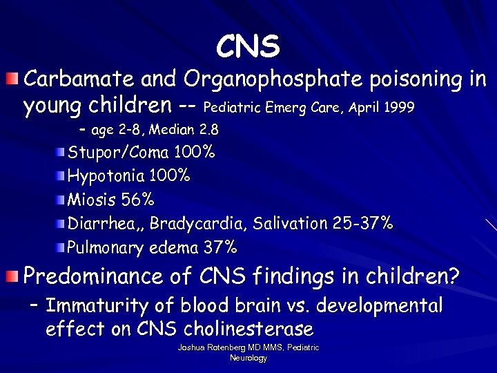 CNS Carbamate and Organophosphate poisoning in young children -- Pediatric Emerg Care, April 1999