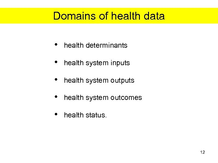 Domains of health data • health determinants • health system inputs • health system