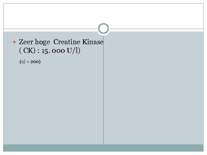 Zeer hoge Creatine Kinase ( CK) : 15. 000 U/l) (nl < 200)