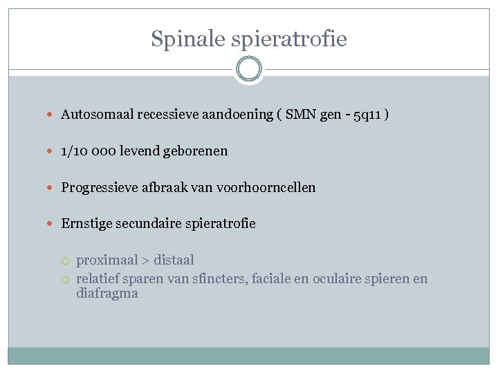 Spinale spieratrofie Autosomaal recessieve aandoening ( SMN gen - 5 q 11 ) 1/10