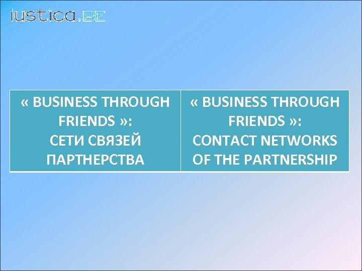 « BUSINESS THROUGH FRIENDS » : СЕТИ СВЯЗЕЙ ПАРТНЕРСТВA « BUSINESS THROUGH FRIENDS