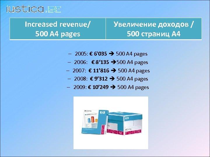 Increased revenue/ 500 A 4 pages Увеличение доходов / 500 страниц А 4 –