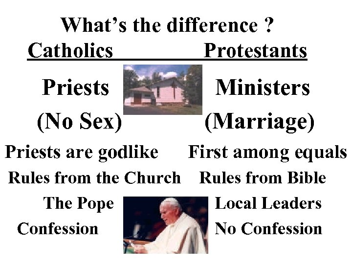 What's the difference ? Catholics Protestants Priests (No Sex) Priests are godlike Rules from
