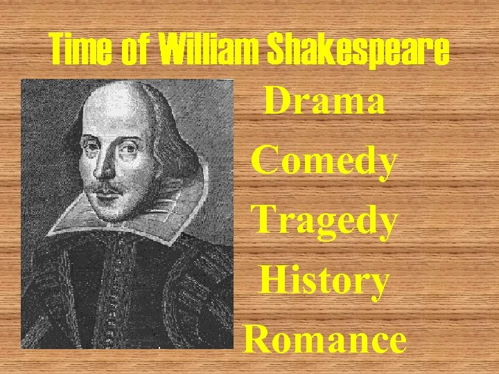 Time of William Shakespeare Drama Comedy Tragedy History Romance
