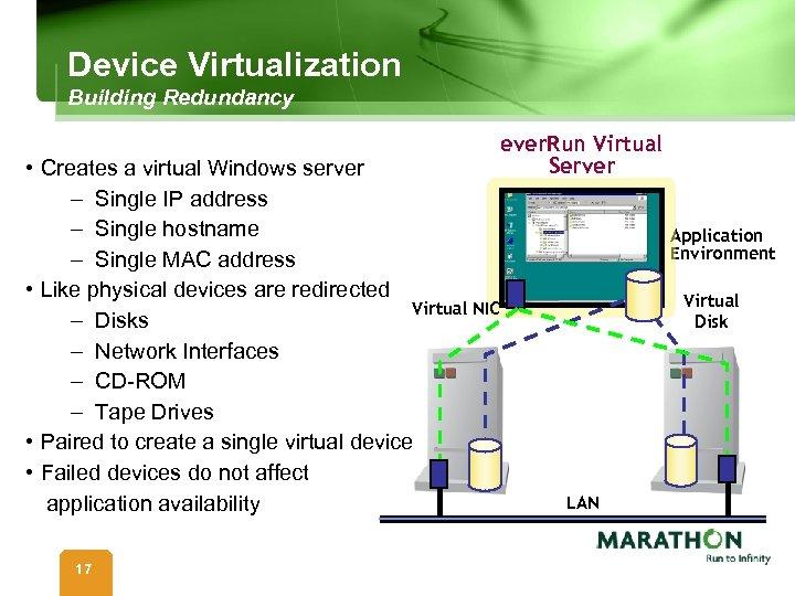 Device Virtualization Building Redundancy • Creates a virtual Windows server – Single IP address