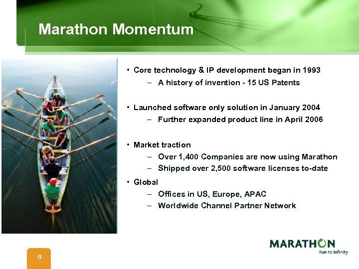 Marathon Momentum • Core technology & IP development began in 1993 – A history