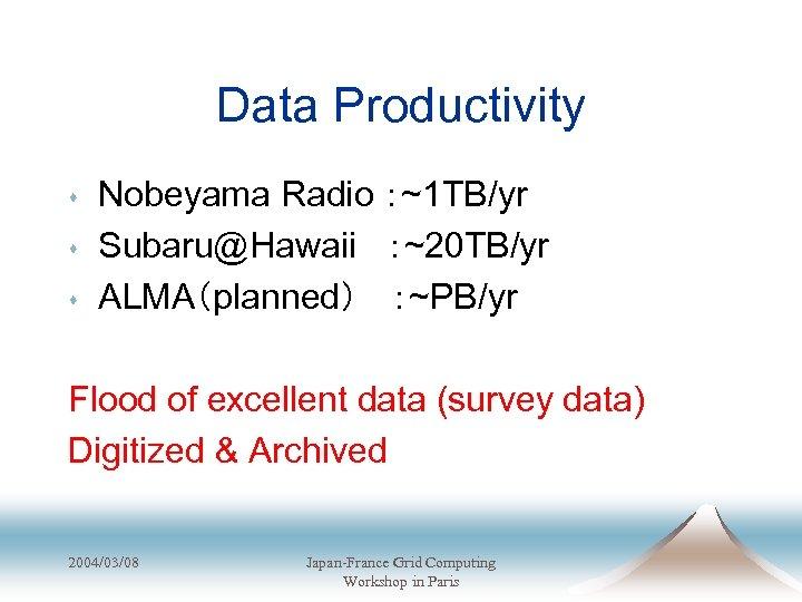 Data Productivity s s s Nobeyama Radio :~1 TB/yr Subaru@Hawaii :~20 TB/yr ALMA(planned)  :~PB/yr