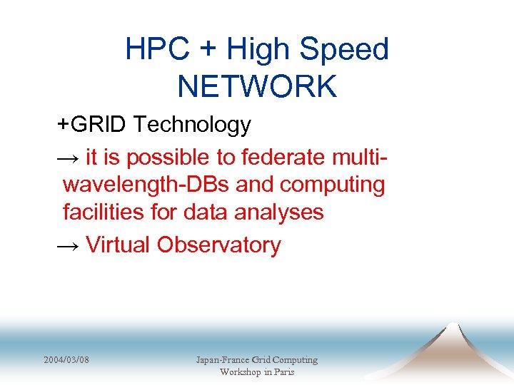 HPC + High Speed NETWORK +GRID Technology → it is possible to federate multiwavelength-DBs