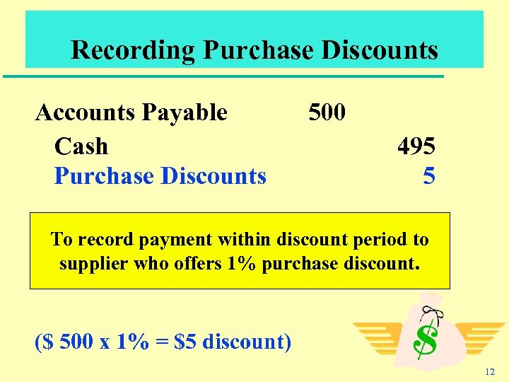 Recording Purchase Discounts Accounts Payable Cash Purchase Discounts 500 495 5 To record payment