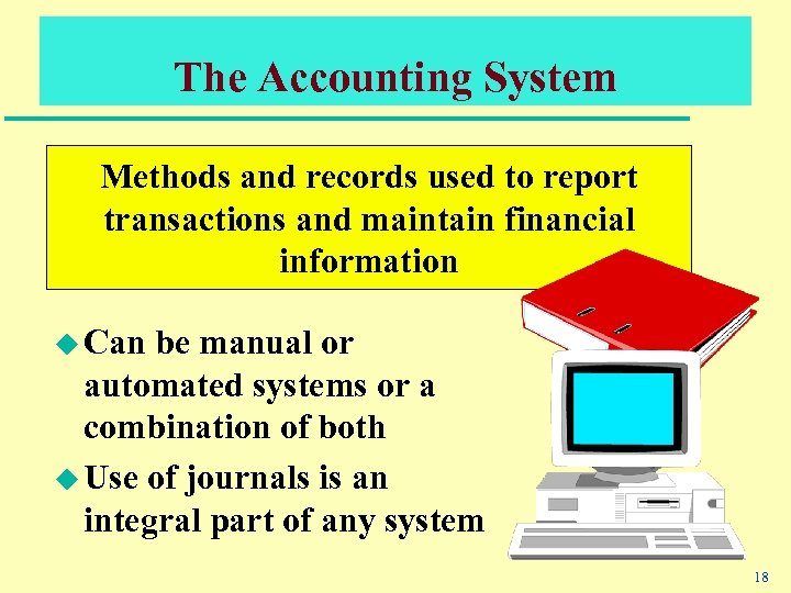The Accounting System Methods and records used to report transactions and maintain financial information