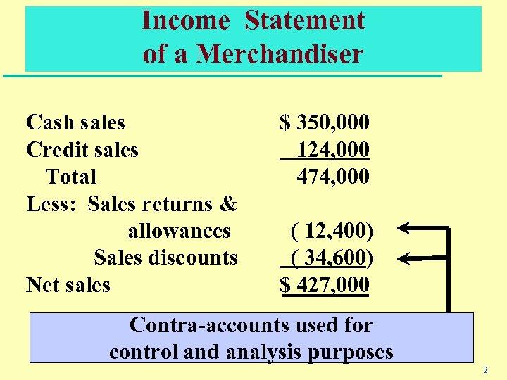 Income Statement of a Merchandiser Cash sales Credit sales Total Less: Sales returns &