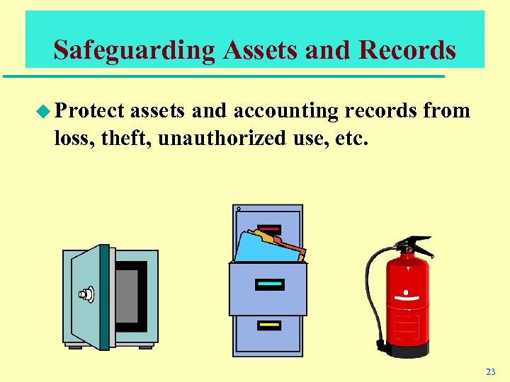 Safeguarding Assets and Records u Protect assets and accounting records from loss, theft, unauthorized