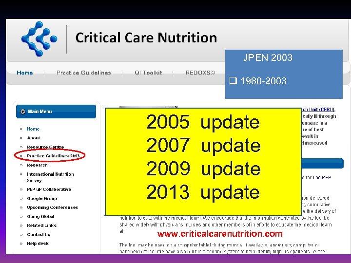 JPEN 2003 q 1980 -2003 2005 update 2007 update 2009 update 2013 update