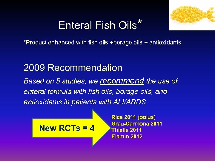 Enteral Fish Oils* *Product enhanced with fish oils +borage oils + antioxidants 2009 Recommendation