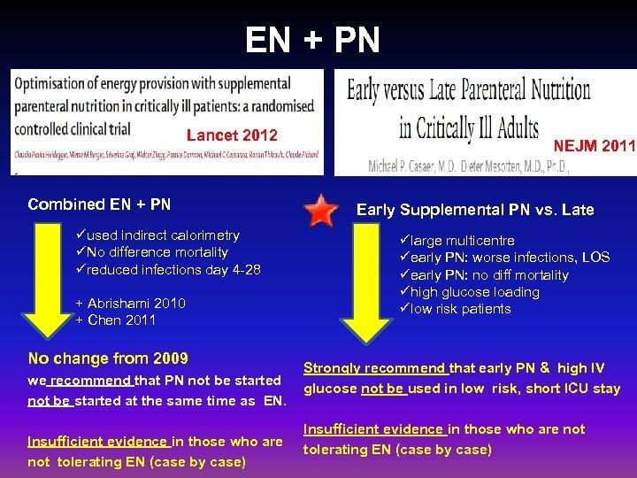 EN + PN Lancet 2012 Combined EN + PN üused indirect calorimetry üNo difference