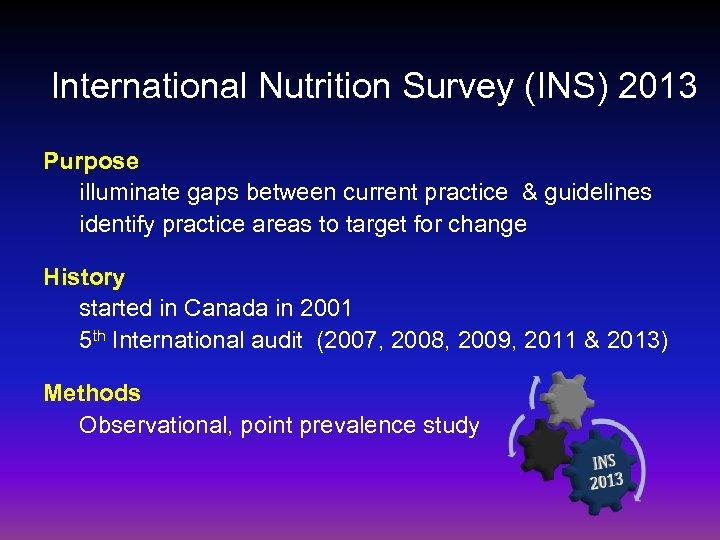 International Nutrition Survey (INS) 2013 Purpose illuminate gaps between current practice & guidelines identify