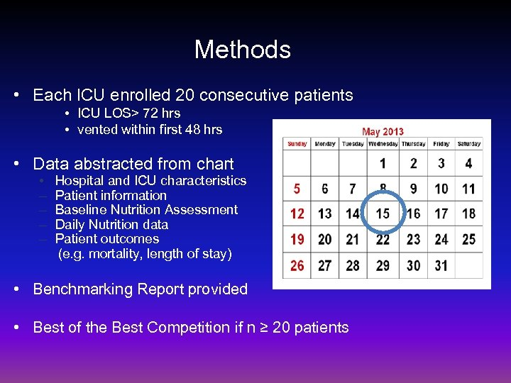 Methods • Each ICU enrolled 20 consecutive patients • ICU LOS> 72 hrs •