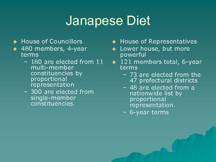 Janapese Diet u u House of Councillors 480 members, 4 -year terms – 180