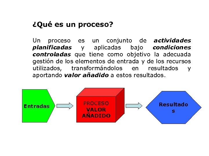 ¿Qué es un proceso? Un proceso es un conjunto de actividades planificadas y aplicadas