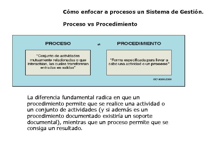 Cómo enfocar a procesos un Sistema de Gestión. Proceso vs Procedimiento La diferencia fundamental