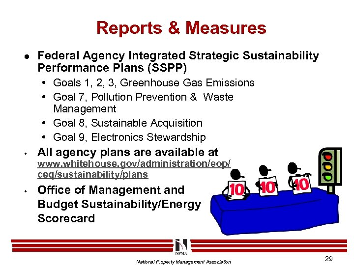 Reports & Measures l Federal Agency Integrated Strategic Sustainability Performance Plans (SSPP) • Goals