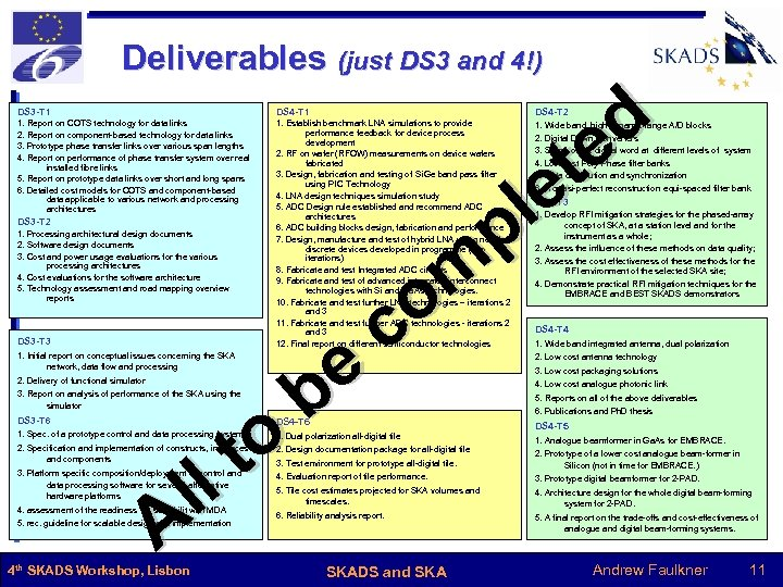 Deliverables (just DS 3 and 4!) d e t le p m o c