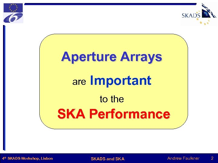 Aperture Arrays are Important to the SKA Performance 4 th SKADS Workshop, Lisbon SKADS