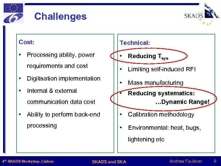 Challenges Cost: Technical: • Processing ability, power • Reducing Tsys requirements and cost •